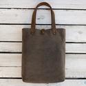 Waxos vászon táska valódi bőr kiegészítőkkel, Táska, Válltáska, oldaltáska, Varrás, Bőrművesség, Erős, strapabíró, waxos szövetből varrtam ezt a táskát.  Táska külső: erős barna waxos vászon Táska..., Meska