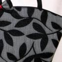 SIKK Szürke-fekete levélmintás táska, Táska, Ruha, divat, cipő, Válltáska, oldaltáska, Varrás, Elegáns, dekoratív, egyedi.  A szép formájú táska szürke alapon fekete levélmintás szövetből készül..., Meska