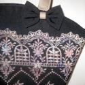 SIKK Fekete táska barna-bézs mintával, Ruha, divat, cipő, Táska, Válltáska, oldaltáska, Varrás, Elegáns, dekoratív, egyedi.  A szép formájú táska fekete textilből készült, elején barna és bézs bá..., Meska
