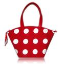 Piros, fehér,  pöttyös táska, Táska, Válltáska, oldaltáska, Varrás, Elegáns, dekoratív, egyedi.  A szép formájú táska meggyiros-fehér pöttyös, jó minőségű, erős textil..., Meska