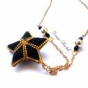 Arany - Fekete Stellina, Ékszer, óra, Medál, Nyaklánc, Ékszerkészítés, Gyöngyfűzés, Arany és fekete miyuki delica gyöngyökből fűztem ezt a 3D-s Stellina medált, amelyet arany színű, g..., Meska