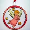 Adventi angyal függő - rózsaszín, Dekoráció, Karácsonyi, adventi apróságok, Karácsonyi dekoráció, Ünnepi dekoráció, Festett tárgyak, Üvegművészet, Kedves, mesebeli hangulatot idéző angyalka, mely angyali varázslatot hoz az otthonokba. Gyöngyökkel..., Meska