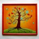 Tulipános életfa, Esküvő, Otthon, lakberendezés, Nászajándék, Falikép, Festett tárgyak, Üvegművészet, Életfát ábrázoló, üvegfestett falikép. Az életfa az életet jelképezi, a változást, a növekedést, a f..., Meska