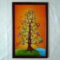 Szerelemfa falikép, Esküvő, Képzőművészet , Nászajándék, Festmény, Üvegművészet, Festészet, A fa az életet jelképezi, a változást, az örök növekedést, fejlődést, folytonos megújulást. Az ágak..., Meska