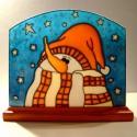 Képes mécses - sapkás hóember, Dekoráció, Otthon, lakberendezés, Karácsonyi, adventi apróságok, Gyertya, mécses, gyertyatartó, Üvegművészet, Festett tárgyak, Romantikus, Karácsonyi hangulatot idéző, egyedi készítésű üvegre festett képes mécses. Az üveglap m..., Meska