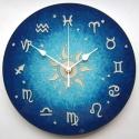 Asztro óra - 12 zodiákussal, Otthon, lakberendezés, Férfiaknak, Dekoráció, Falióra, Festett tárgyak, Üvegművészet, Tizenkét zodiákus szimbólum jelöli az órákat a számlapon. A jegyek tizenkét részre osztják az eklip..., Meska