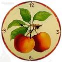 Almás falióra, Otthon, lakberendezés, Esküvő, Falióra, Nászajándék, Festészet, Üvegművészet, Az érett alma frissességét idéző falióra. A krémszínű háttér kiemeli a gyümölcsök meleg színeit, és..., Meska