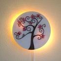 Kilenc virágú életfa hangulat lámpa, Otthon, lakberendezés, Esküvő, Lámpa, Nászajándék, Üvegművészet, Festészet, Üvegre festett, egyedi készítésű fali lámpa.  Kilenc virágú életfa,  tulipánt idéző magyar motívumo..., Meska