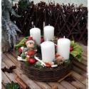 RENDELHETŐ!!!  Adventi kosárkoszorú, piros-zöld-fehér színben, Dekoráció, Karácsonyi, adventi apróságok, Otthon, lakberendezés, Karácsonyi dekoráció, Őt is szívesen elkészítem ismét :) Vagy ha más színekkel, figurával szeretnéd - írj és megbeszéljük ..., Meska