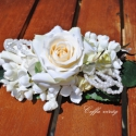 Gyöngyös, fehér rózsás francia csat - hajdísz, Dekoráció, Esküvő, Ékszer, óra, Virágkötés, Egyszerűen elegáns, selyem rózsa, orgonavirág - gyöngyök, francia csatra építve ...  Menyasszonyokn..., Meska