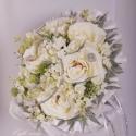 Ezüst csillogás menyasszonyi körcsokor, Dekoráció, Esküvő, Mindenmás, Virágkötés, Mindenmás, Fehér színű különleges minőségű selyem rózsákból és selyem orgonavirágból kötöttem körcsokrot, amit..., Meska