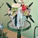 Vintage ősz  - cserepes asztali dísz, Dekoráció, Esküvő, Otthon, lakberendezés, Dísz, Mindenmás, Virágkötés, Színes, őszies hangulatú selyemvirágokat krémszínű füles kerámiakaspóba ültettem, csipkeszalaggal, ..., Meska