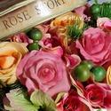 Egy vintage doboznyi virág - anyák napjára, Esküvő, Otthon, lakberendezés, Ruha, divat, cipő, Esküvői csokor, Virágkötés, Rózsás vintage dobozkába teles-tele tartós virágokat tettem. Selyem rózsák, habrózsák, kézzel készü..., Meska