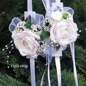 Csuklódísz fehér habrózsával , Dekoráció, Esküvő, Ékszer, óra,  Divatos kiegészítője az esküvőknek a csuklódísz. Adhatjuk a hölgy tanúnak, örömszülőknek, de a kise..., Meska