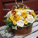 Sárga rózsás fali kosárka , Dekoráció, Otthon, lakberendezés, Esküvő, Kaspó, virágtartó, váza, korsó, cserép, Virágkötés, Szappankészítés, Egyedi és nem mindennapi asztaldísz, születésnapra, névnapra, ballagási ajándék a tanároknak, vagy ..., Meska