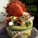 """Textil sünis őszi asztaldísz - kicsi méretben , Dekoráció, Otthon, lakberendezés, Ünnepi dekoráció, Virágkötés, """"Itt van az ősz, itt van ujra""""  Petőfi Sándor versének ide vágó sorával köszöntjük az őszt.  Az els..., Meska"""