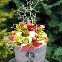 """Őszi színek harmóniája - kaspós asztali dísz , Dekoráció, Otthon, lakberendezés, Ünnepi dekoráció, Virágkötés, """"Itt van az ősz, itt van ujra""""  Petőfi Sándor versének ide vágó sorával köszöntjük az őszt.  Az els..., Meska"""