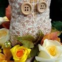 """Textil baglyos őszi asztaldísz - közepes méretben , Dekoráció, Otthon, lakberendezés, Ünnepi dekoráció, Virágkötés, """"Itt van az ősz, itt van ujra""""  Petőfi Sándor versének ide vágó sorával köszöntjük az őszt.  Az els..., Meska"""
