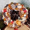 Őszi terméskoszorú ...  madaras RENDELHETŐ!!!, Dekoráció, Otthon, lakberendezés, Ünnepi dekoráció, 20 cm-es szalma alapra ragasztottam a gesztenyéket, terméseket, száraz virágokat, fa madárkát, hogy ..., Meska