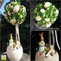Kerámia nyuszis tojásfa - vintage hangulatban  RENDELHETŐ !!!, Dekoráció, Esküvő, Otthon, lakberendezés, Húsvéti apróságok, Natúr vintage rózsaszín tojáshéj kaspóba kis fácskát ültettem. Szép színes cukrozott tojásokkal borí..., Meska