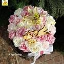 Tavaszi pink virágdoboz - babváró asztali dísz, Dekoráció, Esküvő, Baba-mama-gyerek, Húsvéti apróságok, Pink színű kalapdobozkába fehér és sötét rózsaszín habrózsákat, selyem virágokat ültettem. Csinos fe..., Meska