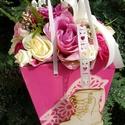 Táskacsokor - pink, krém összeállitasban, Dekoráció, Esküvő, Mindenmás, Esküvői csokor, Virágkötés, Fa alapanyagból készült táska formát oázissal tömtem ki - majd szép kivitelű selyem virágokkal, min..., Meska