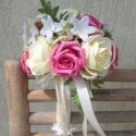 """RENDELHETŐ!!!  \\\""""Pink-krém habrózsás romantika\\\"""" menyasszonyi körcsokor, Dekoráció, Esküvő, Otthon, lakberendezés, Esküvői csokor, Menyasszonyi ruha, Mindenmás, Virágkötés, Pink színű-nagy fejű habrózsa, krém színű hab boglárka és selyem  jázmin, shirling ág közreműködésév..., Meska"""