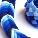 Tribequa/Fishbone kék szett - textilékszer, Ékszer, óra, Mindenmás, Ékszerszett, Ékszerkészítés, Újrahasznosított alapanyagból készült termékek, FISHBONE nyaklánc TRIBEQUA karkötővel. Antiallergén, ahogy az a textilékszereimnél már megszokott. ..., Meska