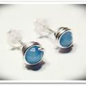 Kék achát bedugós fülbevaló, Ékszer, óra, Fülbevaló, 4mm-es pici ásvány gyöngyöket foglaltam be ezüstözött nikkelmentes dróttal. A második kép illusztrác..., Meska