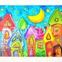 Házikós tányéralátét A4, Baba-mama-gyerek, Otthon, lakberendezés, Konyhafelszerelés, Edényalátét, Fotó, grafika, rajz, illusztráció, Mindenmás, Szivárvány színű városkám most tányéralátét formájában.  (a bal alsó saroknál látható fakóbb rész a..., Meska