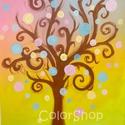 Tavasz - akril festmény vásznon, Dekoráció, Képzőművészet, Otthon, lakberendezés, Baba-mama-gyerek, Festészet, Tavaszi fa. Kellemesen színes, vidám kép, amelyet a tavasz és színei ihlettek.   Gyerekszobába is i..., Meska
