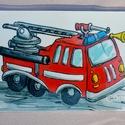 Tűzoltó autó - hűtőmágnes, Konyhafelszerelés, Baba-mama-gyerek, Hűtőmágnes, Gyerekszoba, Fotó, grafika, rajz, illusztráció, Mindenmás, Kisfiad van, vagy kisfiú az unokád? Tűzoltó lesz, ha nagy lesz? Nehéz apró tűzoltó autós ajándékot ..., Meska