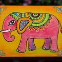 Elefánt - fa hűtőmágnes 8,5x6,5cm, Dekoráció, Konyhafelszerelés, Képzőművészet, Hűtőmágnes, Festett tárgyak, Fotó, grafika, rajz, illusztráció, Kicsit Indiát idézve egy színpompás és díszes elefántot festettem erre a fa lapra.  Kézzel festett,..., Meska