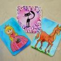 Kislányoknak - hűtőmágnes készlet 3 db-os, Konyhafelszerelés, Baba-mama-gyerek, Hűtőmágnes, Gyerekszoba, Fotó, grafika, rajz, illusztráció, Mindenmás, Igazi csajos készlet a kis királylányoknak akik imádják a pacikat  és a cicákat ;)  A készlet tagja..., Meska
