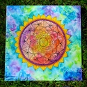 Szivárvány mandala - akril festmény vásznon 40x40 cm, Dekoráció, Képzőművészet, Otthon, lakberendezés, Festmény, Festészet, Szivárványos mandalát rajzoltam/festettem erre a vászonra.  A mandala egy szanszkrit szó, melynek j..., Meska