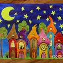 Szivárványváros - foszforeszkál!- akril festmény vásznon 40x30 cm, Képzőművészet, Baba-mama-gyerek, Otthon, lakberendezés, Gyerekszoba, Festészet, Különleges Szivárványváros, amilyet most festettem először vászonra. A különlegessége, hogy a csill..., Meska