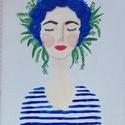 Cyntia, Képzőművészet, Festmény, Akril, Festészet, Az ?Arcok? képsorozatom kék színe, Cyntia. A kép akril festékkel, 18x24 cm-es vászonra készült. , Meska