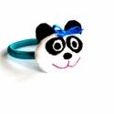 Pandamacis kislány hajgumi , Baba-mama-gyerek, Ruha, divat, cipő, Hajbavaló, Hajgumi, Baba-és bábkészítés, Varrás, Újabb hajgumit készítettem kislányok vagy akár nagylányok részére. Ezúttal pandamacit. Puha pamutvá..., Meska
