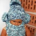 """AKCIÓ! ,,Télváró"""" nagyon meleg sapi sálkendővel, Baba-mama-gyerek, Ruha, divat, cipő, Kendő, sál, sapka, kesztyű, Sapka, Horgolás, 0-3-hónapos babáknak készült ez a jó vastag, meleg vidám és kedves sapika a hozzá illő kendő alakú ..., Meska"""