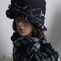 """AKCIÓ !!!,,RAMÓNA""""  .,polár-szövet kalap sállal, Ruha, divat, cipő, Kendő, sál, sapka, kesztyű, Varrás, Horgolás, Dekoratív, meleg, egyedi . Fekete polár  és fekete-fehér szövött kockás anyagból készült ez a dupla..., Meska"""
