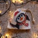 Zsinóros batyu - karácsonyi II., Táska, Karácsonyi, adventi apróságok, Ajándékzsák, Karácsonyi dekoráció, Decoupage, szalvétatechnika, Mindenmás, Tört fehér, kisebb szütyő decoupage technikával díszítve.  Magáncélra és ajándékba is tökéletes, ne..., Meska