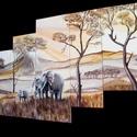 Elefántok, akril festmény, Dekoráció, Otthon, lakberendezés, Kép, Falikép, Festészet, Ez az afrikai témájú kép 5 képből tevődik össze, mely feszített vászonra készült akril festékkel  E..., Meska