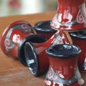 6 db piros pálinkás pohár, Konyhafelszerelés, Kerámia, Az ár a 6 db pohárkát tartalmazza., Meska