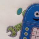 Robotos falikép, Baba-mama-gyerek, Dekoráció, Gyerekszoba, Baba falikép, Patchwork, foltvarrás, Hímzés, 26x26cm  100% pamut anyagból készült igényesen kidolgozott gépi hímzett applikációval készült falik..., Meska