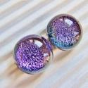 Ragyogó vágyakozás bedugós dichroic üveg fülbevaló, üvegékszer, Ékszer, óra, Fülbevaló, Ékszerkészítés, Üvegművészet, Orgona lila színű dichroic-ból olvasztottam ezeket a  tündöklő, hihetetlenül, szikrázva csillámló f..., Meska