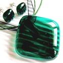 Kék dzsungel üveg medál és fülbevaló, üvegékszer szett, Ékszer, óra, Medál, Nyaklánc, Ékszerszett, Ékszerkészítés, Üvegművészet, Sejtelmesen áttetsző, finoman felhőmintás, különleges kékes árnyalatú, sötét menta - zöld üvegből o..., Meska