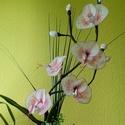 Kézműves Orchidea , Dekoráció, Esküvő, Otthon, lakberendezés, Dísz, Virágkötés, Szép lepke orchidea kb 40cm magas 15 cm széles  fehér piros barna színű ,üveg kaspóban . Kézzel kés..., Meska