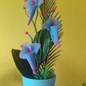 Kézműves Kancsós Orchidea , Dekoráció, Esküvő, Otthon, lakberendezés, Dísz, Virágkötés, Szép Kancsós  orchidea kb 35cm magas 15 cm széles  király kék -pink színű , kaspóban . Kézzel készí..., Meska