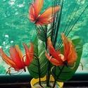 Kézműves Koronás  Orchidea , Dekoráció, Esküvő, Otthon, lakberendezés, Dísz, Virágkötés, Szép Koronás Orchidea kb 35cm magas 20 cm széles  Narancsos piros  színű , kaspóban . Kézzel készít..., Meska