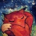 Róka éj - szép álmokat! :) A/3-as nyomat, Baba-mama-gyerek, Képzőművészet , Gyerekszoba, Baba falikép, Fotó, grafika, rajz, illusztráció, Kedves esti mese illusztráció, vegyes technikával készült. Kreatív papírra, sorszámozva,szignózva ad..., Meska
